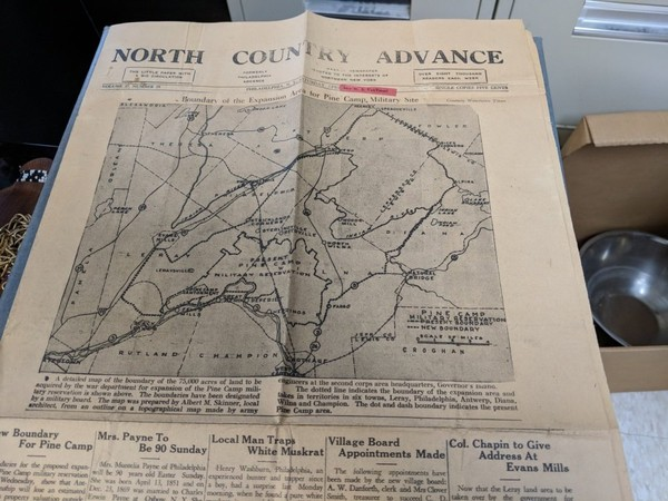 A collection of newspapers and articles from the 1940s is informing the Fort Drum Cultural Resources staff of the recorded history of Pine Camp and the areas that have become known as the 'Lost Villages.'