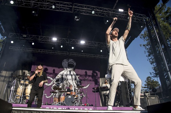 Dustin Bushnell, left, and Jared Watson of the Dirty Heads performs at BottleRock Napa Valley Music Festival at Napa Valley Expo on Saturday, May 27, 2017, in Napa, California.