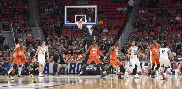 The Syracuse 2-3- zone during an NCAA Tournament first-round game against TCU on Friday, March 16, 2018, at Little Caesars Arena in Detroit. Dennis Nett | dnett@syracuse.com