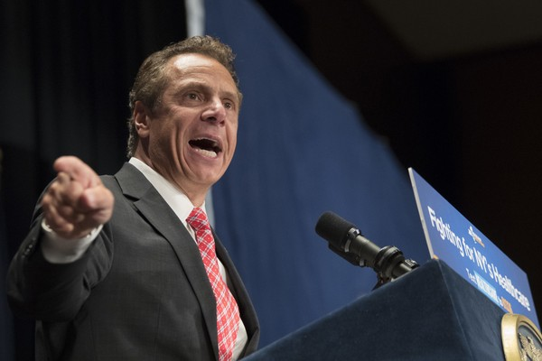 In this July 17, 2017 file photo, New York Governor Andrew Cuomo speaks during a rally in support of the Affordable Care Act and against a Senate replacement bill, in New York.