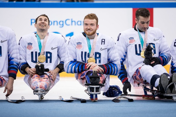 From left to right, Luke McDermott, Declan Farmer, and Adam Page, after winning gold in the PyeongChange 2018 Paralympic Games.(Wheelchair Sports Federation)