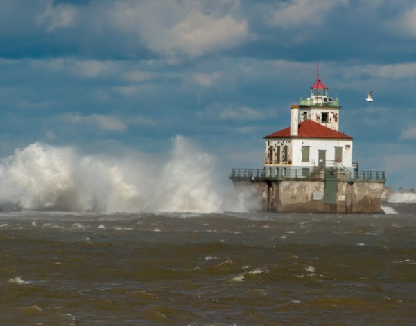 Gale-force wind generated waves on Lake Ontario off Oswego.