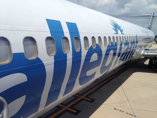An Allegiant Air plane sits at St. Pete-Clearwater International Airport in Florida prior to a flight to Syracuse.