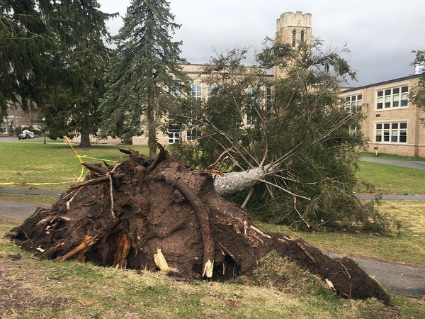 Wind gusts of nearly 50 mph about 6:30 a.m. this morning at Clinton High School, in the Oneida County village of Clinton. No one was injured and there was no damage.