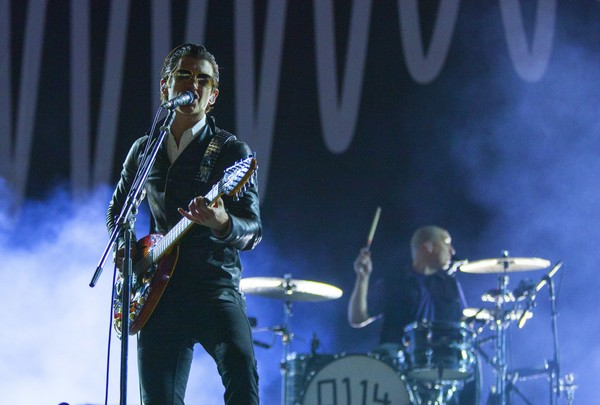 Alex Turner and Matthew Helders of the Arctic Monkeys perform at the Voodoo Music Experience on Saturday, Nov. 1, 2014, in New Orleans.
