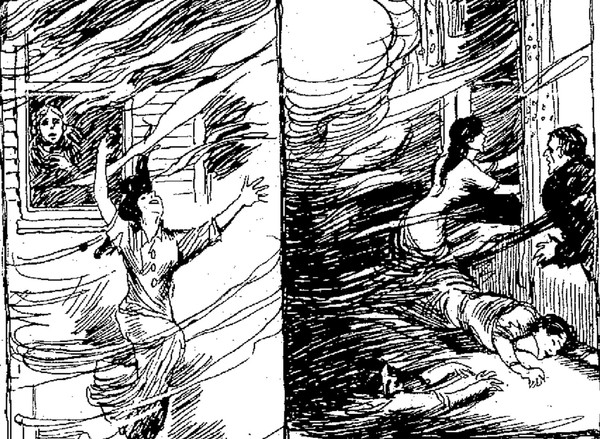 A sketch from the April 17, 1913 Syracuse Herald shows women jumping from their windows to escape the flames at the DeWilson Hotel fire in Malone.