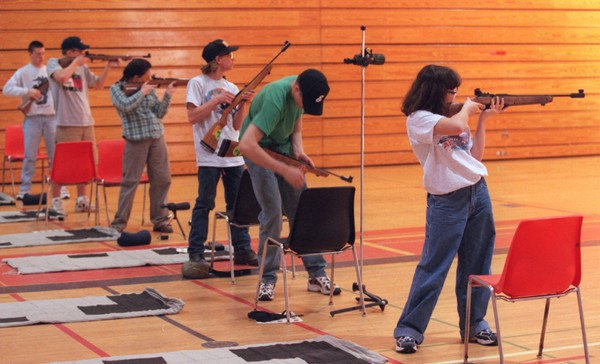 Students participating in an air rifle championship at Mexico Academy in Oswego County in 1999. .