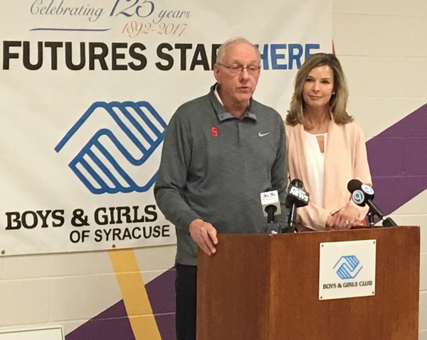 Jim and Juli Boeheim spoke Friday afternoon at the East Fayette Street Boys and Girls Club of Syracuse. The Jim and Juli Boeheim Foundation presented the club with a check for $100,000 to kick off a $1 million fundraising campaign.(Donna Ditota | dditota@syracuse.com)