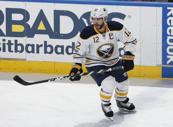 Buffalo Sabres right wing Brian Gionta (12) skates prior to an NHL hockey game against the Florida Panthers, Saturday, April 8, 2017, in Sunrise, Fla.