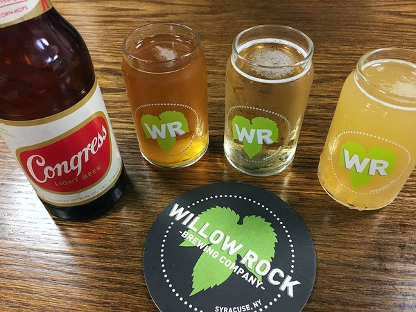 Willow Rock Brewing Co. in Syracuse, working with the Onondaga Historical Association, is aiming to launch a new version of Syracuse's historic Congress Beer. These are three experimental versions that will ultimately lead to the final beer.(Don Cazentre)