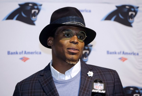 Carolina Panthers quarterback Cam Newton speaks to the media following an NFL football game against the Carolina Panthers, Sunday, Oct. 1, 2017, in Foxborough, Mass. (AP Photo/Steven Senne, File)