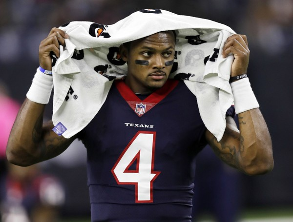 This Oct. 8, 2017, photo shows Houston Texans quarterback Deshaun Watson (4). Texans Coach Bill O'Brien confirmed that Watson is out for the season after the star rookie quarterback tore the anterior cruciate ligament in one of his knees during practice. (AP Photo/David J. Phillip,  File)
