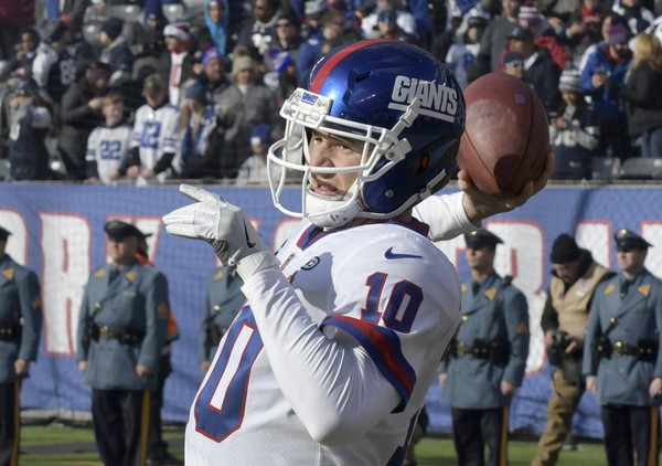 New York Giants quarterback Eli Manning warms up before an NFL football game against the Dallas Cowboys, Sunday, Dec. 10, 2017, in East Rutherford, N.J. (AP Photo/Bill Kostroun)