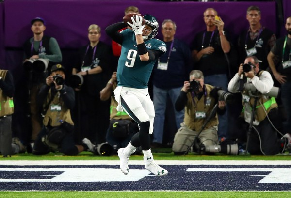 Nick Foles of the Philadelphia Eagles makes a 1-yard touchdown reception against the New England Patriots during the second quarter of Super Bowl LII on Feb. 4, 2018, in Minneapolis, Minnesota. (Gregory Shamus/Getty Images)