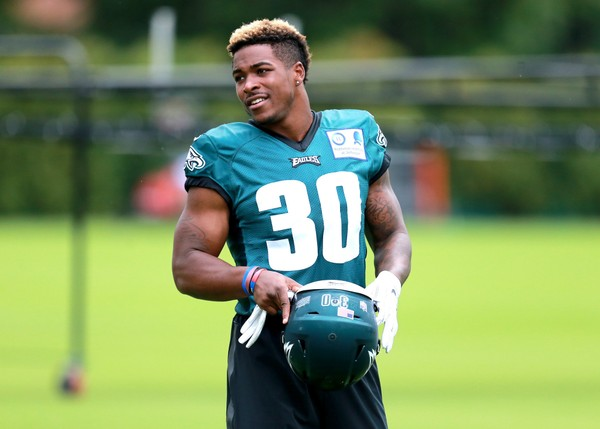 Eagles RB Corey Clement talks during the first day of training camp at the NovaCare Complex in Philadelphia, Monday, July 24, 2017. (Tim Hawk   For NJ.com)