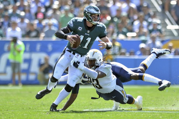 Philadelphia Eagles quarterback Carson Wentz (11) is sacked by Los Angeles Chargers defensive end Darius Philon (93) during the first quarter at StubHub Center. (Jake Roth-USA TODAY Sports)
