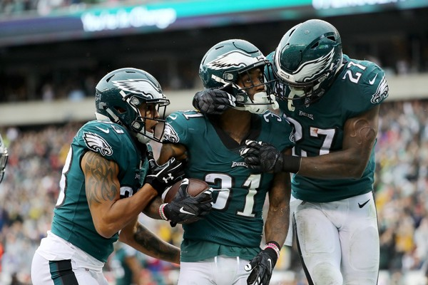 Jalen Mills #31 of the Philadelphia Eagles is congratulated by teammates after his touchdown.