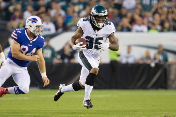 Eagles cornerback Ronald Darby (35) carries the ball past Buffalo Bills tight end Nick O'Leary (84) during the first quarter at Lincoln Financial Field.