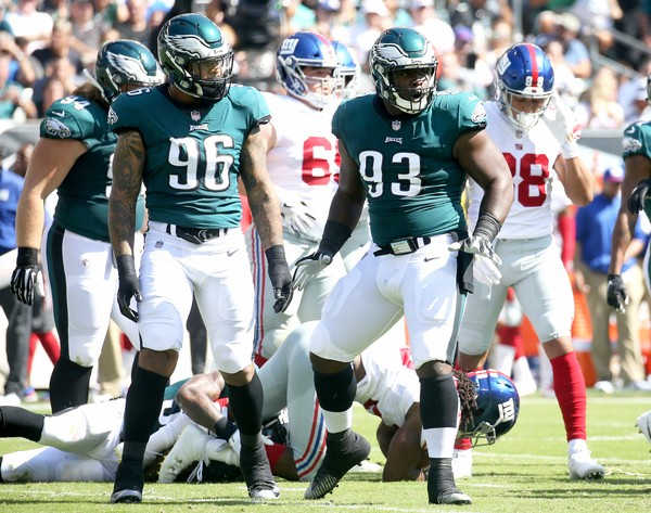 Eagles DT Tim Jernigan (93) celebrates a tackle during the second quarter of the game against the New York Giants at Lincoln Financial Field, Sunday, Sept. 24, 2017. (Lori M. Nichols | For NJ.com)