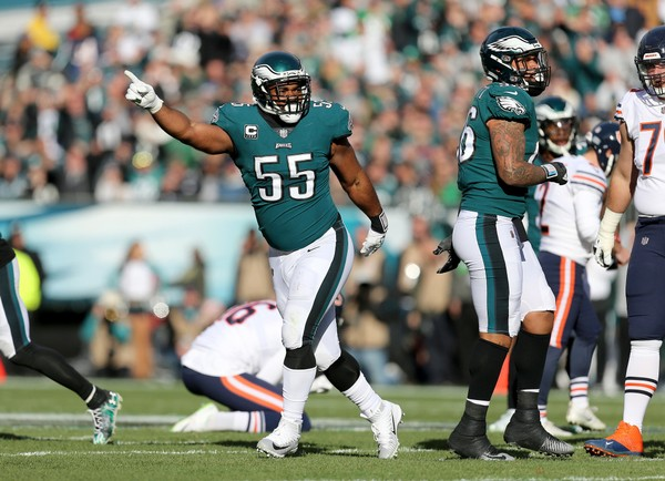 c87b518c363 Eagles DE Brandon Graham (55) celebrates after a missed field goal by the  Chicago