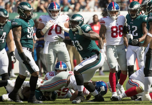 Philadelphia Eagles defensive tackle Timmy Jernigan (93) reacts after a defensive stop against the New York Giants.