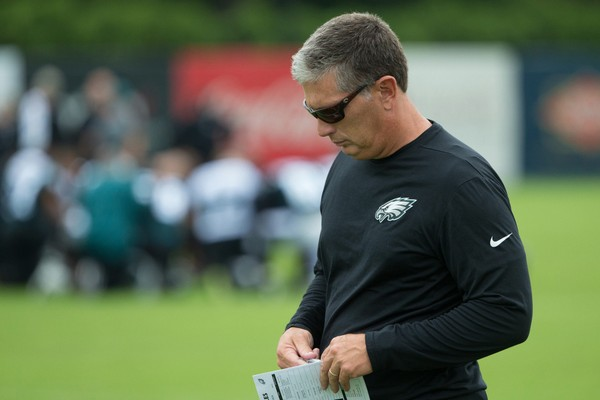 Philadelphia Eagles defensive coordinator Jim Schwartz looks on during training camp at NovaCare Training Complex.