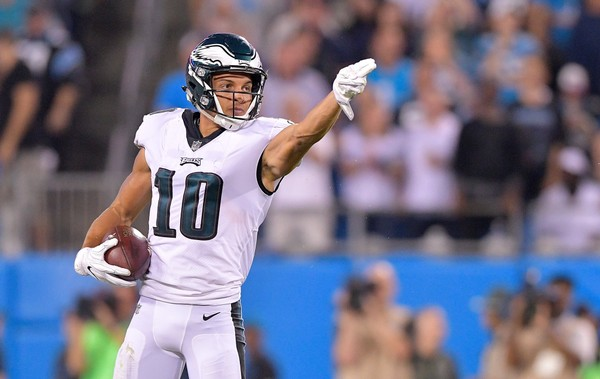 Mack Hollins #10 of the Philadelphia Eagles indicates a first down against the Carolina Panthers in the second half during their game at Bank of America Stadium on October 12, 2017 in Charlotte, North Carolina.  (Photo by Grant Halverson|Getty Images)