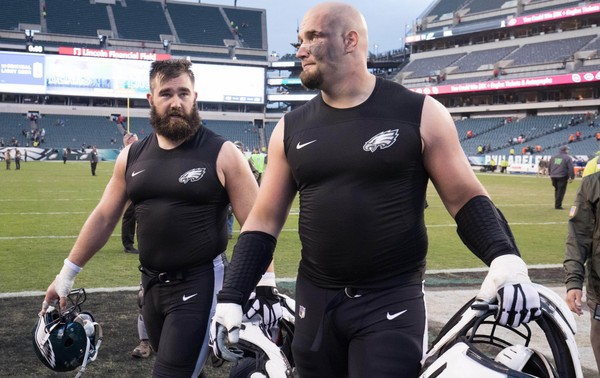 Philadelphia Eagles offensive tackle Lane Johnson (R) and center Jason Kelce (62) were voted first-team All-Pro. (Bill Streicher | USA TODAY Sports)
