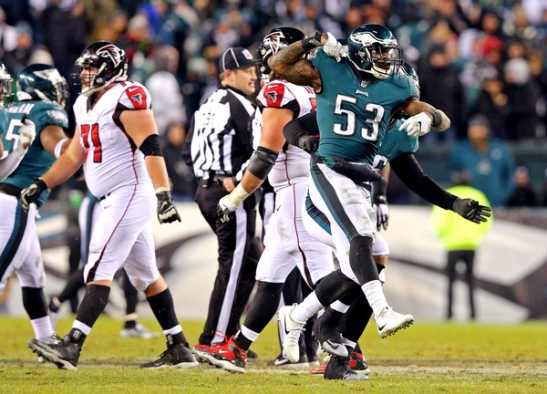 Philadelphia Eagles outside linebacker Nigel Bradham (53) reacts after a play during the third quarter against the Atlanta Falcons in the NFC Divisional playoff game at Lincoln Financial Field. (Brad Penner-USA TODAY Sports)