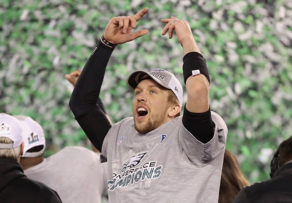 Nick Foles of the Philadelphia Eagles celebrates a Super Bowl berth after win over the Minnesota Vikings in the NFC Championship Game. The Philadelphia Eagles defeated the Minnesota Vikings, 38-7. (Abbie Parr/Getty Images)