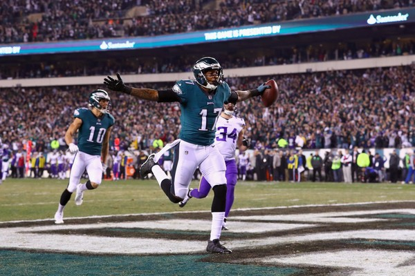 Alshon Jeffery of the Philadelphia Eagles celebrates after scoring a 53 yard touchdown reception during the second quarter against the Minnesota Vikings in the NFC Championship game at Lincoln Financial Field on Jan. 21.