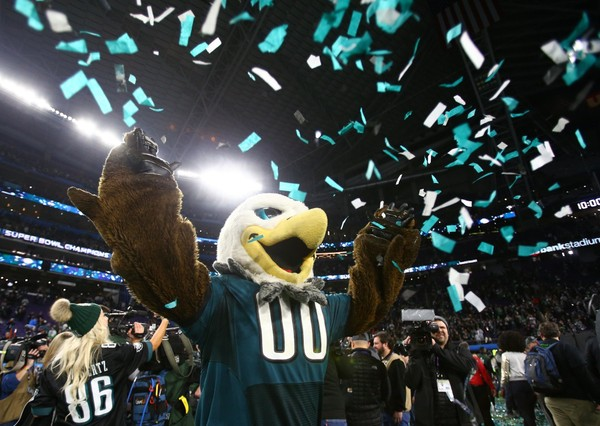 Eagles mascot Swoop throws confetti after Super Bowl LII. There's a championship bobblehead being created in Swoop's likeness. Who else?