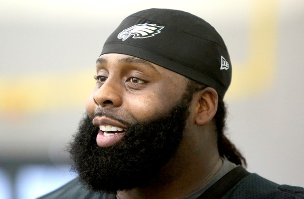 Eagles T Jason Peters (71) talks to the media after the fourth day of training camp at the NovaCare Complex in Philadelphia, Thursday, July 28, 2016. (Tim Hawk | For NJ.com)