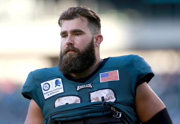 Eagles C Jason Kelce looks at the crowd during the second open practice Military Appreciation Day at Lincoln Financial Field Sunday Aug. 14 2016