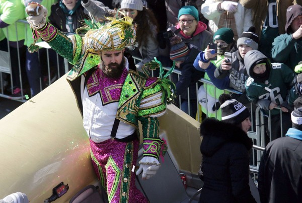 Philadelphia Eagles center Jason Kelce celebrates their first Super Bowl Championship with a parade down Broad Street to the Philadelphia Museum of Art on Feb. 8, 2018. (Jennifer Corbett | The News Journal via USA TODAY NETWORK)