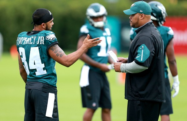Eagles RB Donnel Pumphrey (34) to running backs coach Duce Staley during the first day of training camp at the NovaCare Complex in Philadelphia, Monday, July 24, 2017. (Tim Hawk | For NJ.com)