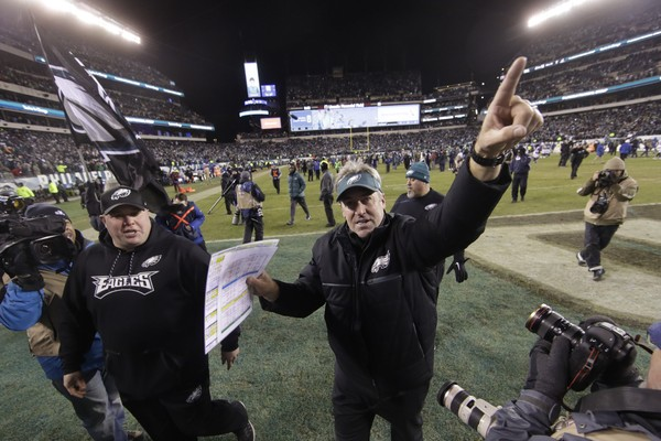 Philadelphia Eagles head coach Doug Pederson celebrates after an NFL divisional playoff football game against the Atlanta Falcons, Saturday, Jan. 13, 2018, in Philadelphia. Philadelphia won 15-10. (AP Photo/Matt Rourke)