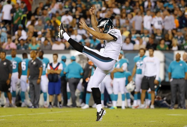 Philadelphia Eagles punter Donnie Jones during an NFL preseason football game against the Miami Dolphins at Lincoln Financial Field in Philadelphia, Thursday, Aug. 24, 2017. (Winslow Townson/AP Images for Panini)