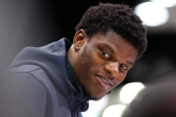 Louisville Cardinals quarterback Lamar Jackson (QB10) speaks with media during the NFL Combine at the Indianapolis Convention Center in Indianapolis, Ind. on March 2, 2018. (Aaron Doster | USA TODAY Sports)