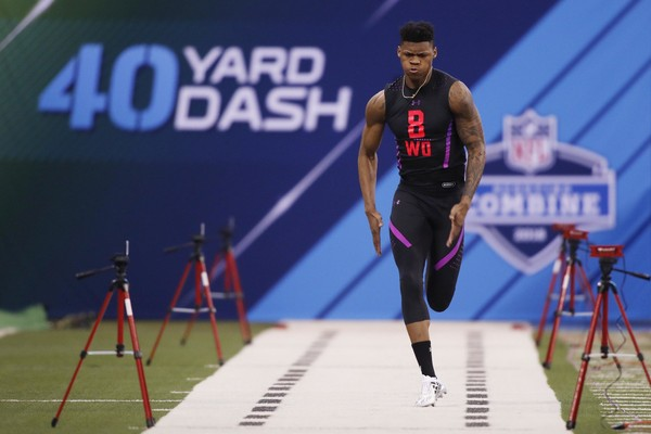 LSU Tigers wide receiver D.J. Chark runs the 40 yard dash during the 2018 NFL Combine at Lucas Oil Stadium.