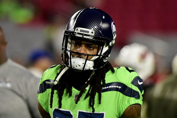 Seattle Seahawks cornerback Richard Sherman (25) looks on prior to the game against the Arizona Cardinals at University of Phoenix Stadium.