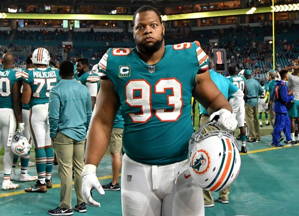 Miami Dolphins defensive tackle Ndamukong Suh (93) reacts on the bench during the second half against the Buffalo Bills at Hard Rock Stadium.