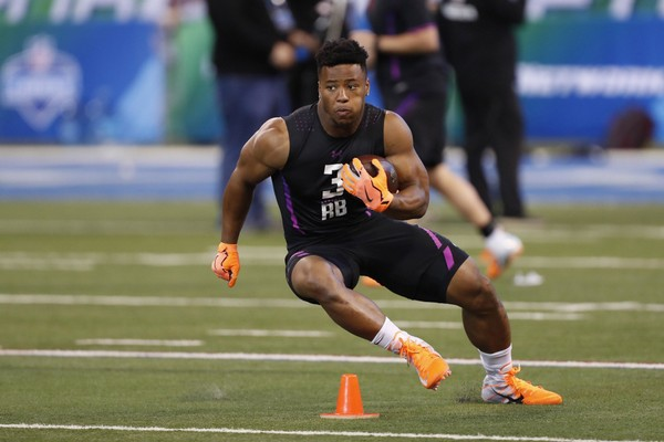 Penn State Nittany Lions running back Saquon Barkley goes through workout  drills during the 2018 NFL 2b1dfdaec