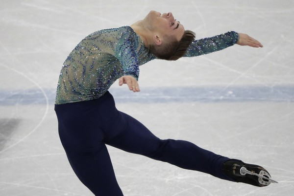 Adam Rippon performs during the men's free figure skating final in the Gangneung Ice Arena at the 2018 Winter Olympics in Gangneung, South Korea, Saturday, Feb. 17, 2018. (AP Photo/Julie Jacobson)