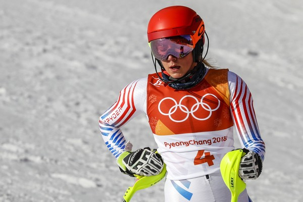 Mikaela Shiffrin of the United States competes in the Women's Slalom at the 2018 Winter Olympics in Pyeongchang, South Korea, Friday, Feb. 16, 2018. (AP Photo/Morry Gash)