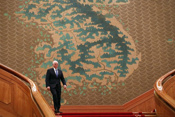 Vice President Mike Pence walks down to the main hall at the presidential office Cheong Wa Dae, Blue House on Feb. 8, 2018 in Seoul, South Korea. Pence is visiting South Korea and will lead the U.S. delegation in the opening ceremony of PyeongChang Winter Olympics. (Photo by Woohae Cho/Getty Images)