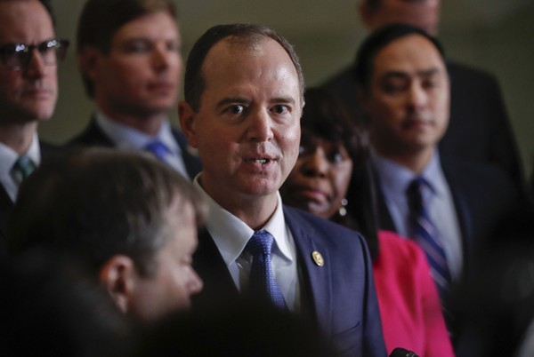 Rep. Adam Schiff, D- Calif., ranking member of the House Intelligence Committee, speaks to members of the media, Monday, Jan. 29, 2018 on Capitol Hill in Washington. (AP Photo/Pablo Martinez Monsivais)