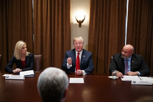 President Donald Trump speaks during a meeting with law enforcement officials on Tuesday, Feb. 6, 2018, in Washington.  (AP Photo/Evan Vucci)
