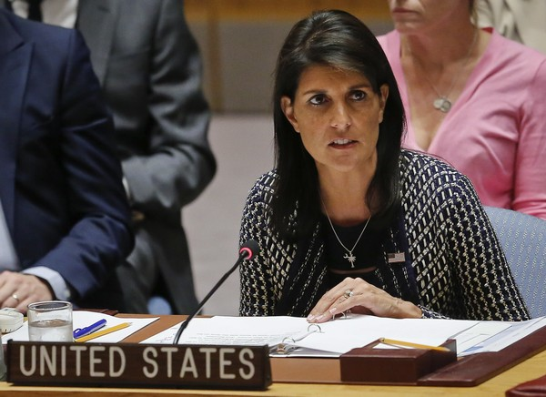 In a Thursday Sept. 28, 2017 file photo, United Nations Ambassador from U.S. Nikki Haley address U.N. Security Council meeting on Myanmar's Rohingya crisis, at U.N. headquarters. (AP Photo/Bebeto Matthews, File)