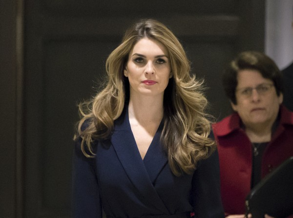 In this Feb. 27 2018 photo, White House Communications Director Hope Hicks, one of President Trump's closest aides and advisers, arrives to meet behind closed doors with the House Intelligence Committee, at the Capitol in Washington.